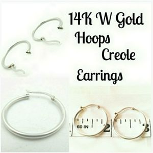 14K 22 mm White Gold Hoop Creoles Round Earrings